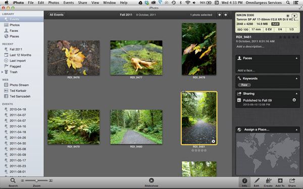 iPhoto information tab