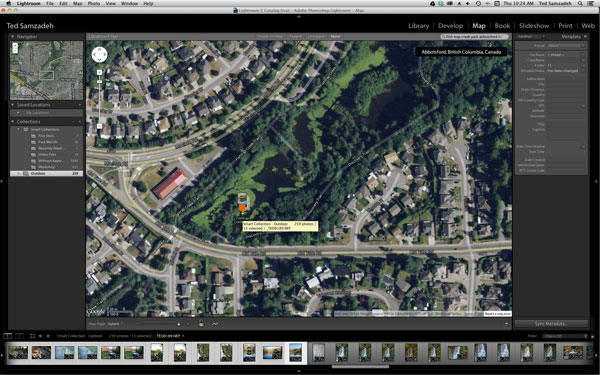 Lightroom map finds the location using Google Map