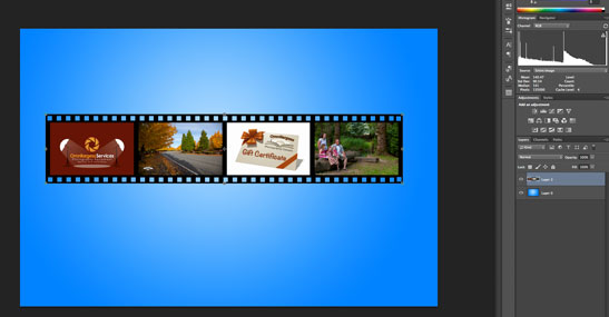 Film Strip template created in Photoshop