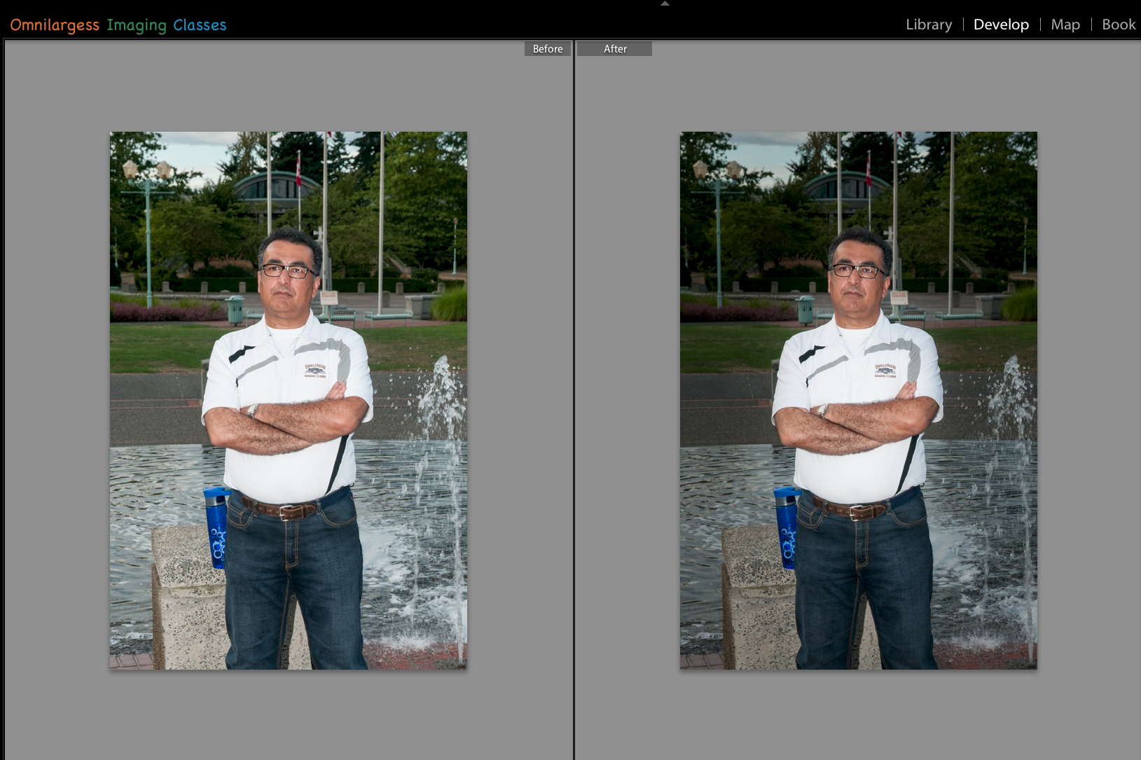 Before and After Lightroom Radial Filter exposure and vignetting