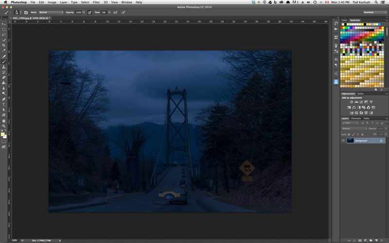 Using Photoshop Color Look Up to make a night scene