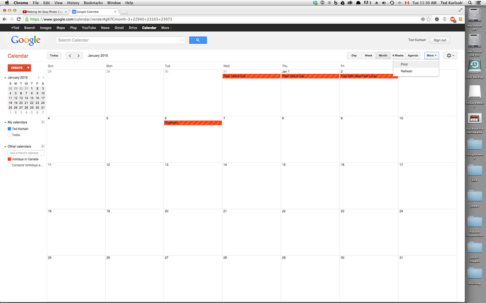 Chalkboard calendar psd template ~ presentation templates.
