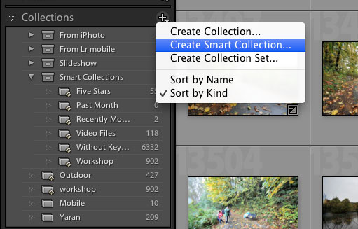 Add Lightroom Smart Collection by clicking the + sign