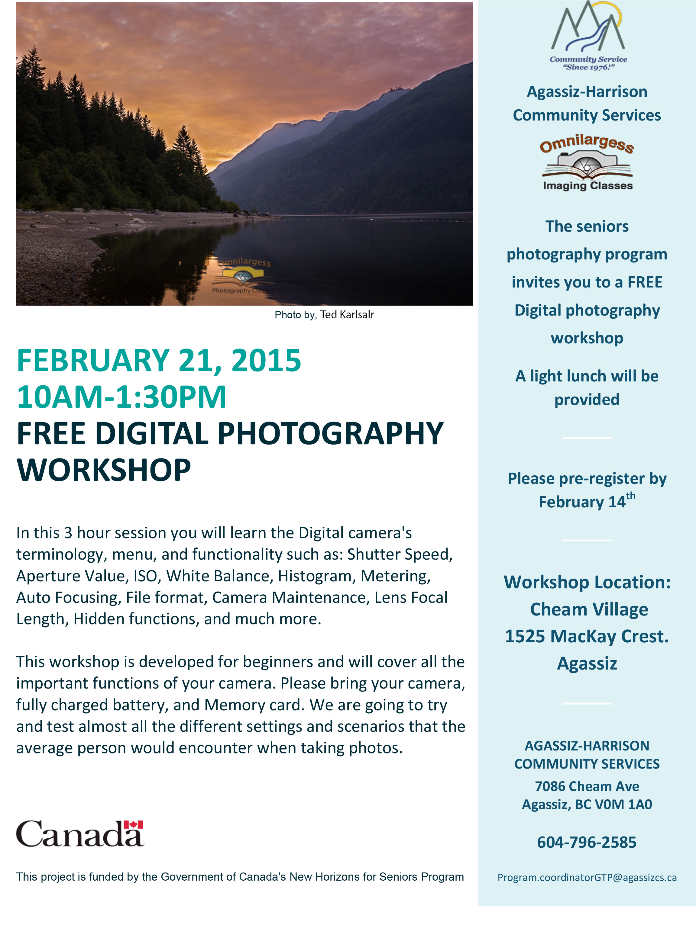 Free Photography Workshop, Agassiz, BC