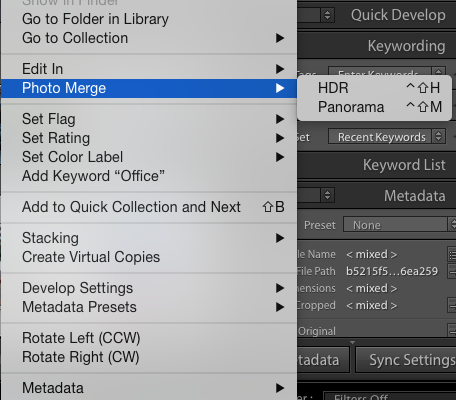 Merge photos to HDR in Lightroom or Photoshop