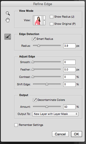 If you make a mistake, just hold down the OPTION/ALT key and your brush changes to eraser.