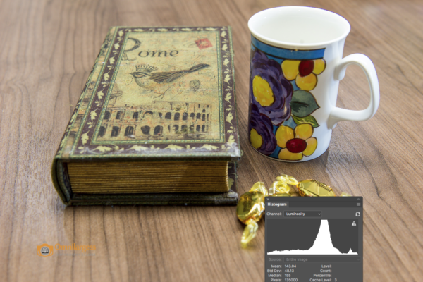 Histogram shows all different tones which are available on the image