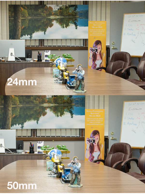 I shot both images at f8. Notice that in 50mm lens the depth of field is very shallower