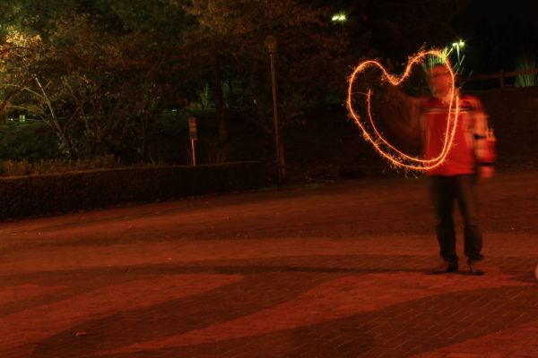 5 seconds shutter speed allowed me to draw the heart in our night time photography class