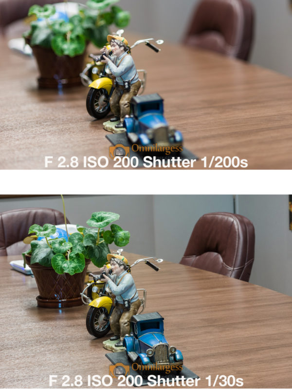 Changing the Aperture in Aperture priority, and the camera changes the shutter speed to make correct exposure.