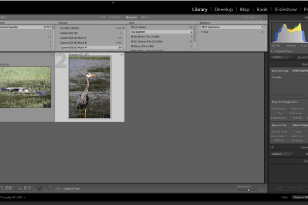 Lightroom Metadata find the photos using Exif files